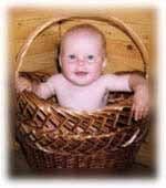 Забавная малышка в корзине